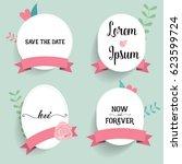 wedding invitation card design... | Shutterstock .eps vector #623599724