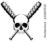 a human skull and two crossed... | Shutterstock .eps vector #623603510
