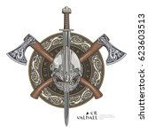 viking helmet  crossed viking... | Shutterstock .eps vector #623603513