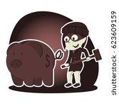 retro style thief businesswoman ...   Shutterstock .eps vector #623609159