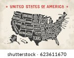 poster map of united states of... | Shutterstock . vector #623611670