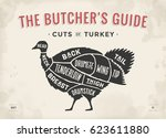 cut of meat set. poster butcher ... | Shutterstock .eps vector #623611880