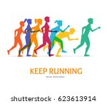keep running card runner color... | Shutterstock .eps vector #623613914