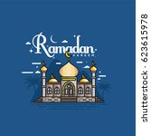ramadan kareem with mosque... | Shutterstock .eps vector #623615978