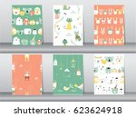 set of seamless patterns with... | Shutterstock .eps vector #623624918