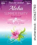 sunset beach sea poster ... | Shutterstock .eps vector #623627783