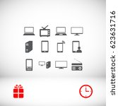 communication device icons ... | Shutterstock .eps vector #623631716
