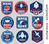 mars mission vector space... | Shutterstock .eps vector #623635244
