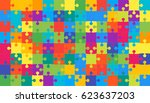 puzzle background  banner ... | Shutterstock .eps vector #623637203