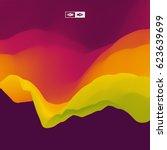 3d wavy background. dynamic... | Shutterstock .eps vector #623639699