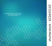 hexagonal structure molecule... | Shutterstock .eps vector #623643110