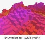 colorful 3d voxel landscape.... | Shutterstock .eps vector #623649044
