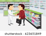 modern interior pharmacy and... | Shutterstock .eps vector #623651849