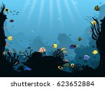 underwater landscape with... | Shutterstock .eps vector #623652884