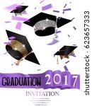 graduation 2017 invitation card ... | Shutterstock .eps vector #623657333