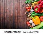 frame of organic food. fresh... | Shutterstock . vector #623660798