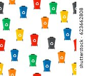 many garbage cans with sorted...   Shutterstock .eps vector #623662808