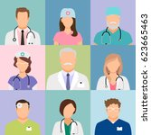 doctors and nurses profile... | Shutterstock .eps vector #623665463