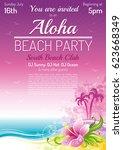 evening beach sea poster for... | Shutterstock .eps vector #623668349