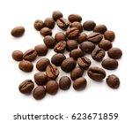 roasted brown coffee beans... | Shutterstock . vector #623671859