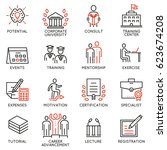 vector set icons related to... | Shutterstock .eps vector #623674208