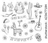 set of vector sketches on the... | Shutterstock .eps vector #623677184