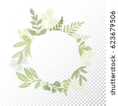 circle floral frame with hand... | Shutterstock .eps vector #623679506