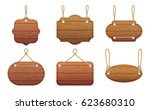 hanging signs with wood texture ... | Shutterstock .eps vector #623680310