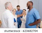 cheerful interns taking part in ...   Shutterstock . vector #623682704