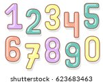 numbers set. funny numbers. | Shutterstock .eps vector #623683463
