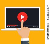 online video concept. internet... | Shutterstock .eps vector #623683574