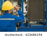 engineer woman in industry...   Shutterstock . vector #623686196