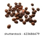 brown coffee on white... | Shutterstock . vector #623686679