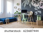 modern studio apartment with... | Shutterstock . vector #623687444