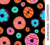 colorful glazed donuts icons... | Shutterstock .eps vector #623690054