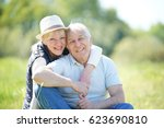 senior couple relaxing in... | Shutterstock . vector #623690810
