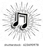 music note with star burst on... | Shutterstock .eps vector #623690978