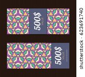 two gift vouchers in moroccan...   Shutterstock .eps vector #623691740