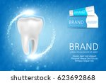 whitening toothpaste ad.... | Shutterstock .eps vector #623692868