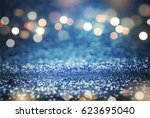 blue glitter and gold lights... | Shutterstock . vector #623695040