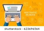 web traffic increase. developer ... | Shutterstock .eps vector #623696564