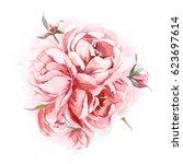 watercolor romantic bouquet of... | Shutterstock . vector #623697614