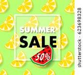 summer sale banner with lemon...   Shutterstock .eps vector #623698328