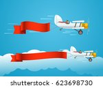 flying vintage plane with... | Shutterstock .eps vector #623698730