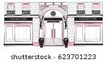 vector shopfront detailed pink  ... | Shutterstock .eps vector #623701223
