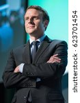 Small photo of PARIS, FRANCE - APRIL, 13 2017 : Emmanuel Macron at the 2rd summit of startup in the Palais Brogniard for the french presidential election of 2017 with his political party en marche.