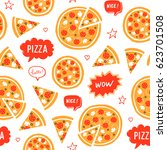 vector hand drawn pizza and... | Shutterstock .eps vector #623701508