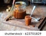 homemade salted caramel sauce   Shutterstock . vector #623701829