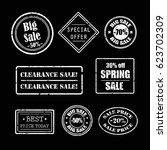 sale grunge rubber stamps set... | Shutterstock .eps vector #623702309
