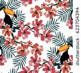 tropical seamless pattern with...   Shutterstock .eps vector #623704394